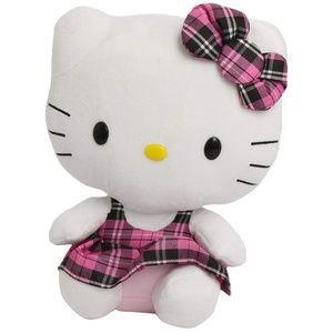 Ty Beanie Buddy Hello Kitty Tartan Plaid Overalls